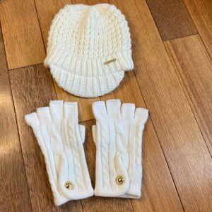 Michael Kors cream sweater hat and fingerless glove set